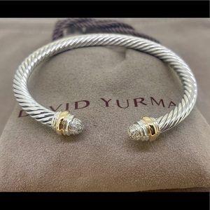 David Yurman 5mm Cable Bracelet 14k Gold Diamonds
